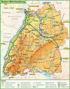 Large detailed map of Baden-Württemberg
