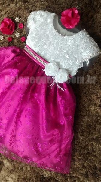 Vestido Infantil de Festa Luxo Branco com Rosa