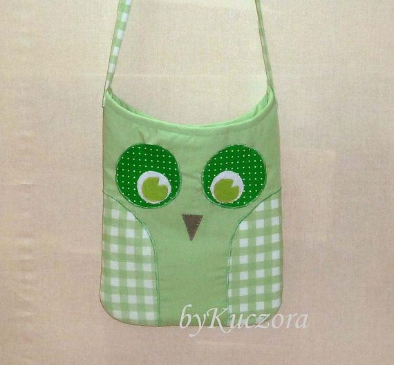 Owl bag, tote, recycled bag, shoulder bag, cross body bag, light green