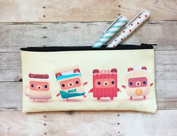 Breakfast Bears Alphabear Small Zipper Pouch by kukubee on Etsy