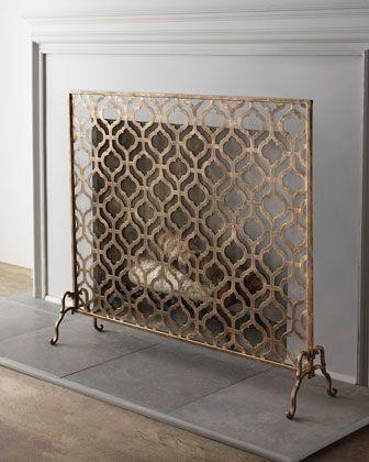 Single-Panel Fireplace Screen More