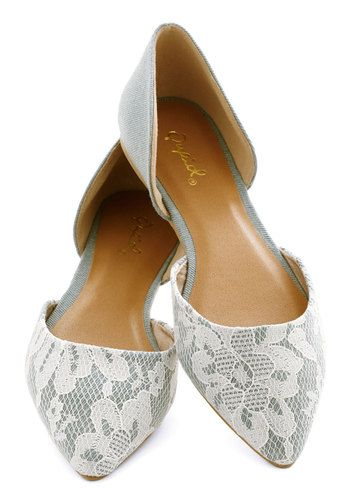 Denim D'Orsay Flats decorated with delicate lace - cute!