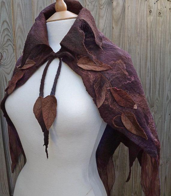 Brown woodland Nuno Felt Cape - leafy elven cape -  fairy cape -
