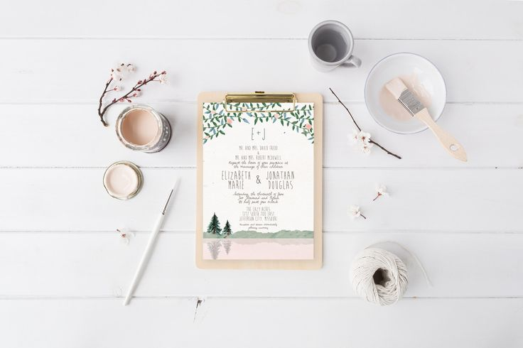 Mountain Wedding Invitation Suite DEPOSIT, DIY, Rustic, Woodland, Forest, Country, Printable, Custom, Watercolor, Lake (Wedding Design #54) by SplashOfSilver on Etsy https://www.etsy.com/listing/228079894/mountain-wedding-invitation-suite