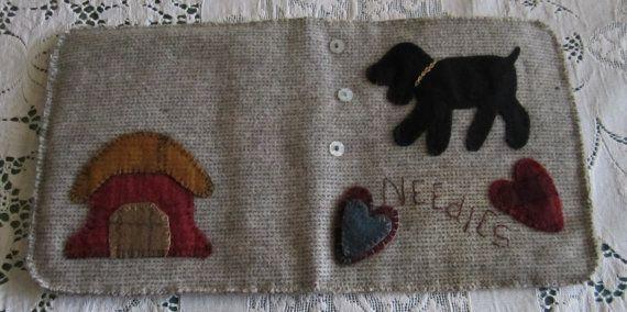Arte popular primitivo lana apliques patrón Needlebook libro