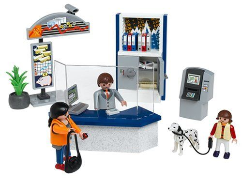 Playmobil Bank Counter by Playmobil. $89.99. Now your Playmobil people can safely store their money or retrieve some for their errands. The bank counter comes equipped with locking safe and ATM for safe storage of the Playmobil money. Ages 4+ 4402 Playmobil
