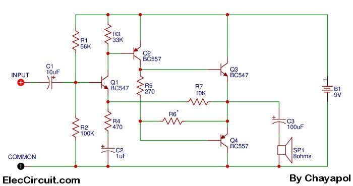4 transistor audio amplifier circuit - Eleccircuit com