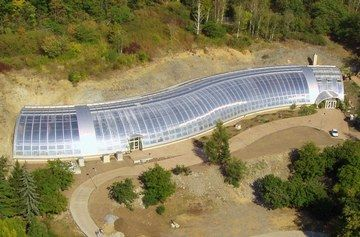 letecký pohled na skleník