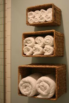 Attach baskets to the wall in your bedroom or bathroom and store items. This is a very cheap bookcase for storage. I would take this idea, put this in my bedroom near my closet and add folded scarfs, bulky sweaters, long warm socks, and gloves for easy access to grab for my fall winter items.