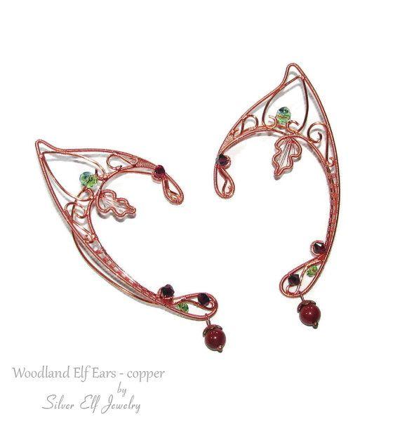 Kupfer-Woodland Elfenohren Fantasy Ohrringe von SilverElfJewelry