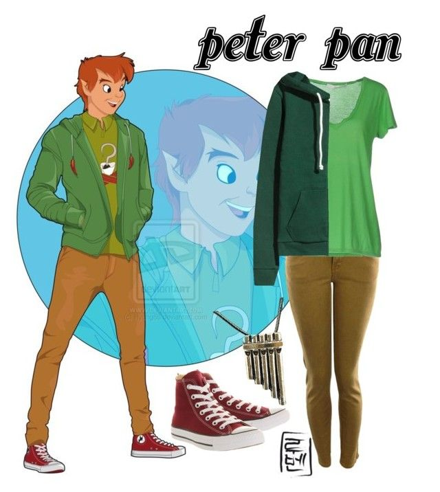 """Disney University - Peter Pan"" by aquatic-angel ❤ liked on Polyvore featuring Disney, Converse, Lee, jucca and Once Upon a Time"