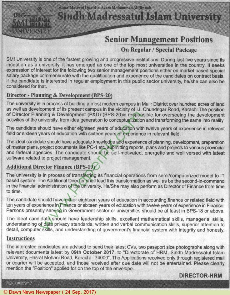 Sindh Madressatul Islam University Karachi Jobs Jobs in
