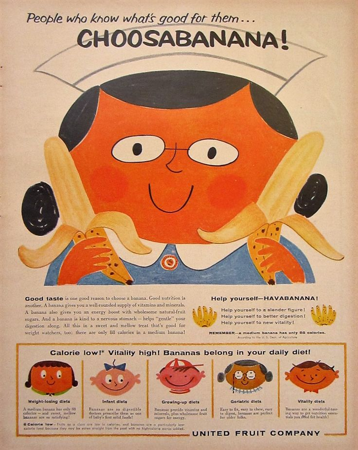 1959 United Fruit Company Choosabanana Banana Vintage Advertisement Kitchen Wall Art Dining Room Decor Original Magazine Print Ad Ephemera by RelicEclectic on Etsy
