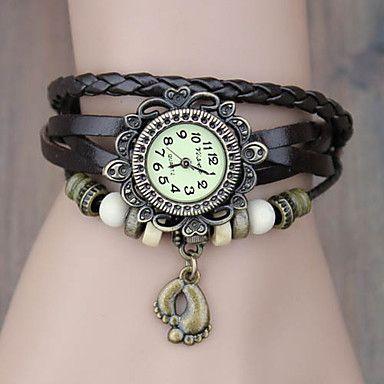 Női karkötő óra, kvarc analóg, antikolt lábnyom függővel stílusos bőr szíjjal (random színek) – USD $ 9.99