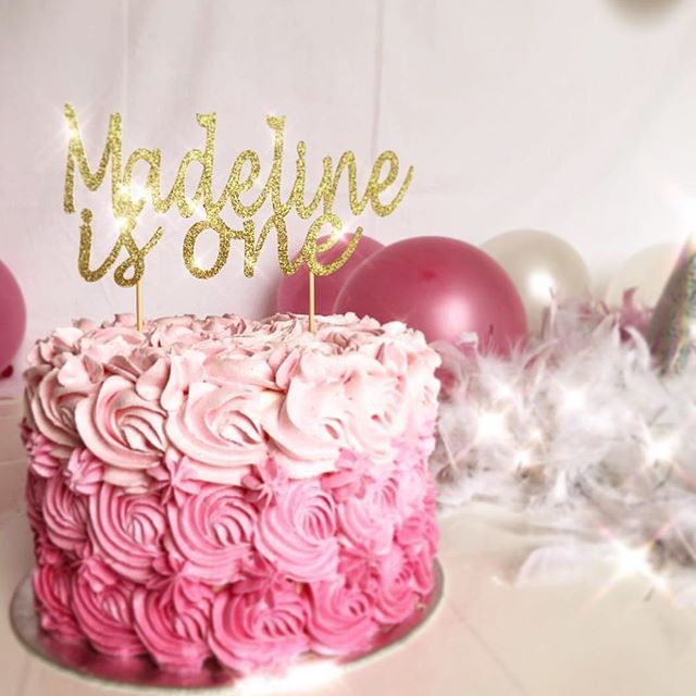 First Birthday custom name is Cake Topper. Thank you to @cassarchut for tagging us on this beautiful photo. Hope you had a great time celebrating Madeline's birthday. Created by Inspired by Alma - Custom Party Decorations for all occasions. #inspiredbyalma #firstbirthdayparty