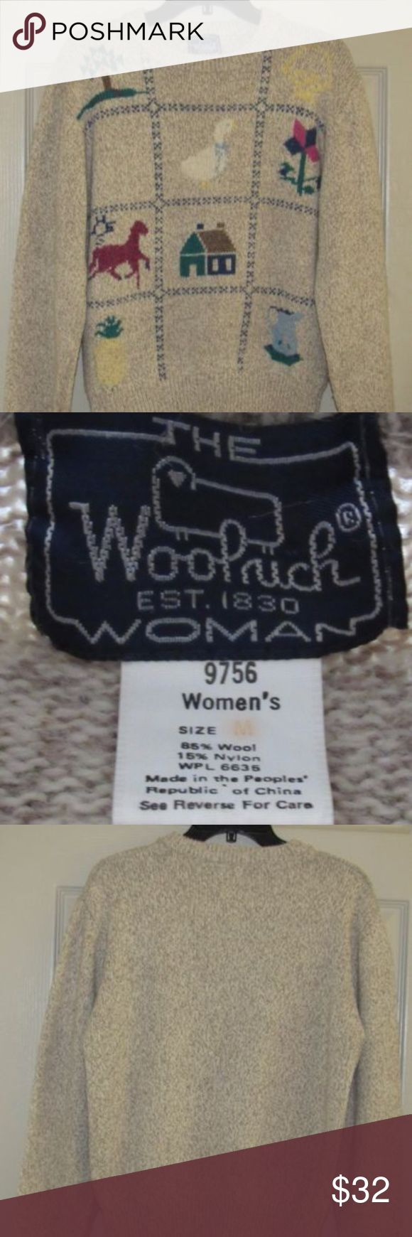 "Woolrich-Woman-Size-Medium-Crew-Neck-Sweater Woolrich Woman Size Medium Crew Neck Sweater Goose Horse Tree House 85% wool 15% nylon.  This is a long sleeved crew neck sweater. The design on the front is kind of like a cross stitch effect with blue as your boarders. There is a goose, house, horse, tree, flower,pitcher, pineapple and left shoulder area has a yellow that I cant make out.  length 22"" sleeve length 23.5"" chest 19.5"" flat across the front.  Smoke free home Woolrich Sweaters Crew…"