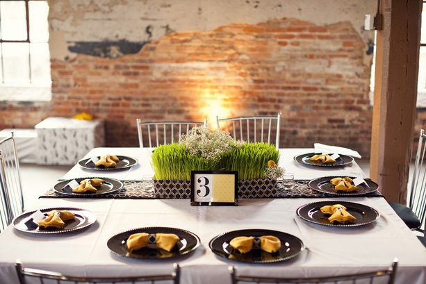 eco-friendly elements mixed in with a little bit of vintage glam