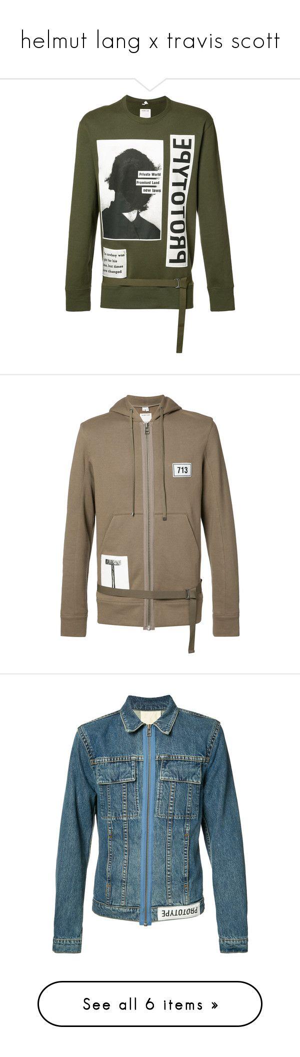"""helmut lang x travis scott"" by neua ❤ liked on Polyvore featuring men's fashion, men's clothing, men's hoodies, men's sweatshirts, green, helmut lang, brown, mens zip up hoodies, mens zipper hoodies and browning mens hoodies"