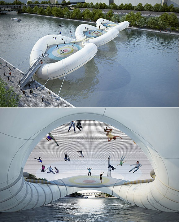 """A bridge in Paris (called """"A Bridge in Paris"""") is made of inflatable tubing and three giant interconnected trampolines, designed by AZC Architecture Studio."""
