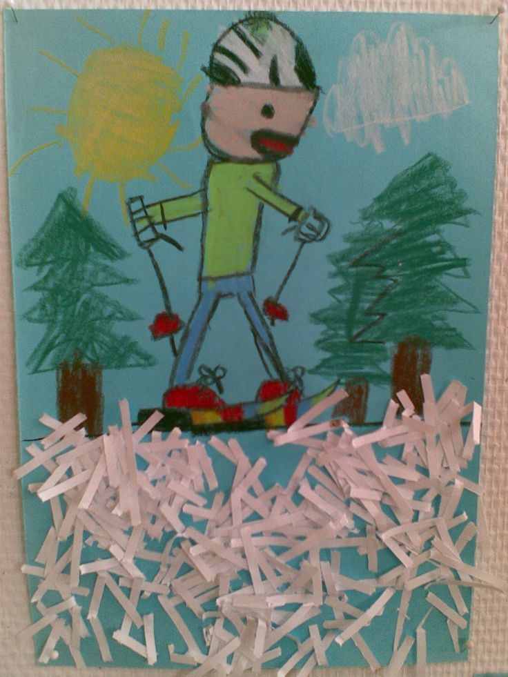 Hiitoa kauniilla talvisäällä. Vahaliidut ja paperisilppua. (1.-2.lk)