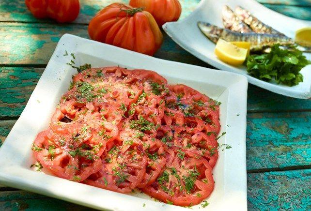Tomatencarpaccio met sardientjes