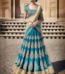 Buy Dark aqua blue embroidered silk base unstitched lehenga choli lehenga-choli online