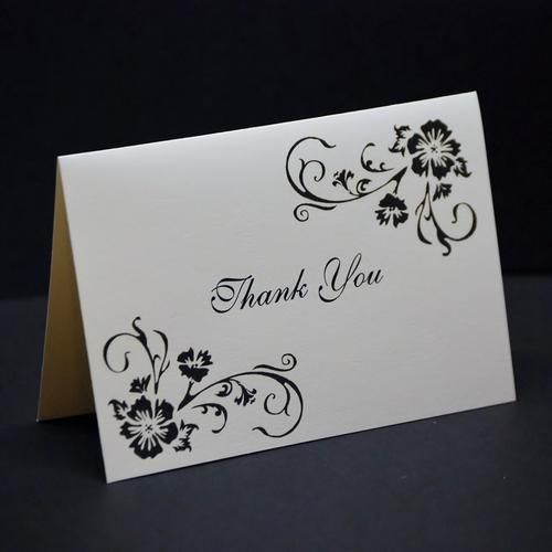 Simple Elegance, wedding thank you card sample, hand stamped