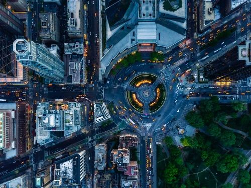 8 - Jeffrey Milstein - NYC Columbus Circle. Fotografia aerea NY, urban landscapes, cityscapes.