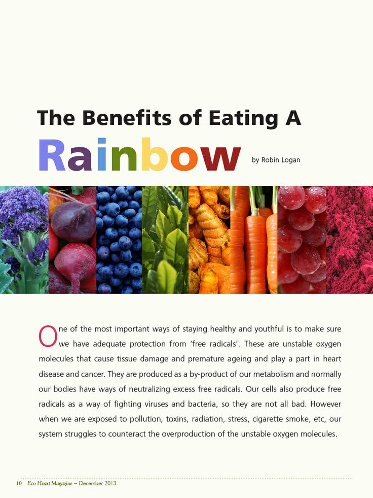 The Benefits of Eating the Rainbow by Robin Logan creator of 7 Cream ~ 7Cream.com ~ Get your free issue of Eco Heart Magazine and read the article at: EcoHeartMagazine.com
