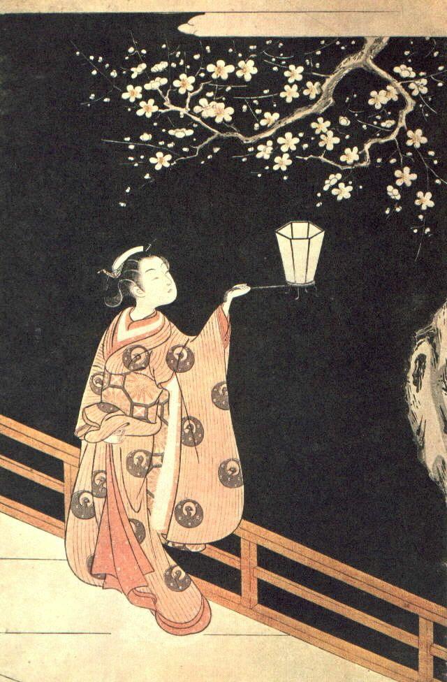 ukiyo-e . Woman Admiring Plum Blossoms at Night Suzuki Harunobu (Japanese, 1725–1770)