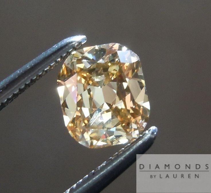 loose Diamonds : 0.58 #Carat Cushion Cut Fancy Light Yellow Brown VS2 Loose Brown Diamond $1449