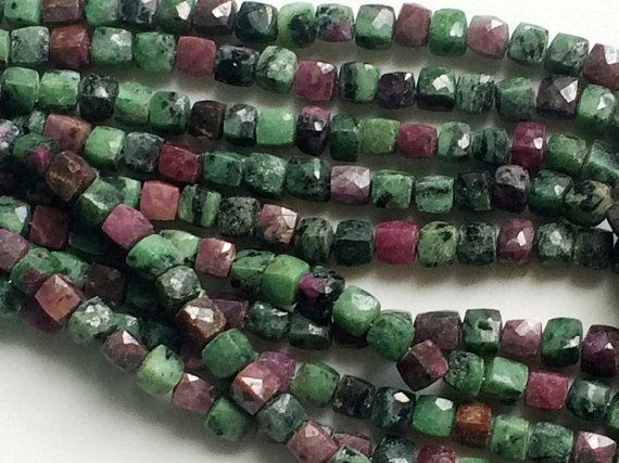 Ruby Zoisite Faceted Cube Beads 6.5-7mm Ruby by gemsforjewels