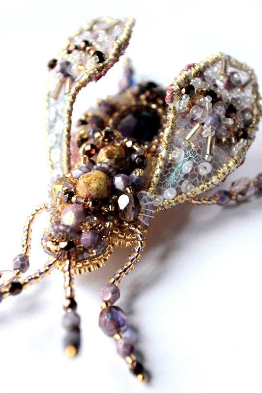 Beetle brooch READY to ship Nature jewelry by BeadedNatureJewelry #AgijaRezcova