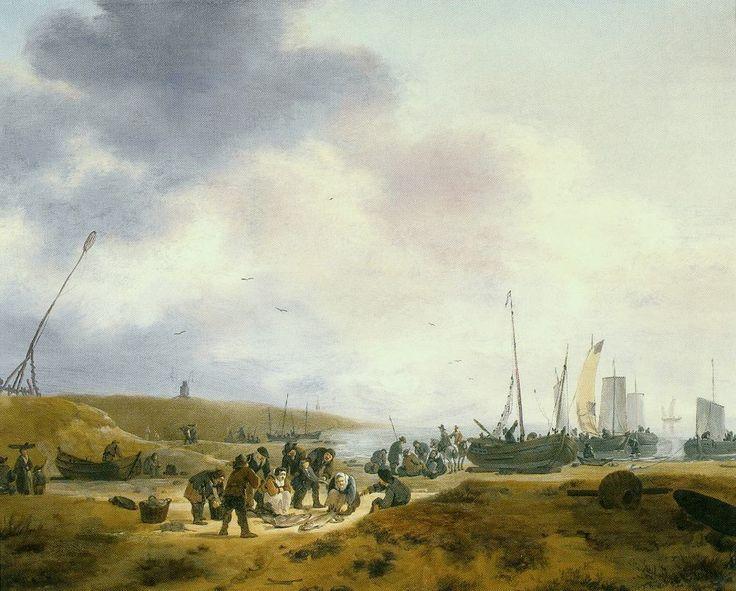 Egbert Lievensz van der Poel (1621-1664) Vissers op het strand met in het midden de visafslag. Boven de duienen is de spits van een kerktoren zichtbaar, maar is het de kerk van Scheveningen?