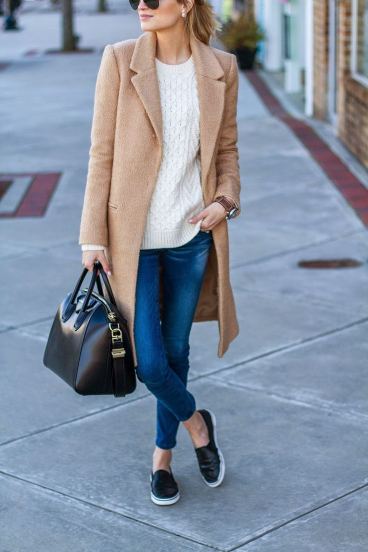 My weekend style- coat, jumper, skinny jeans, tote, sneakers.
