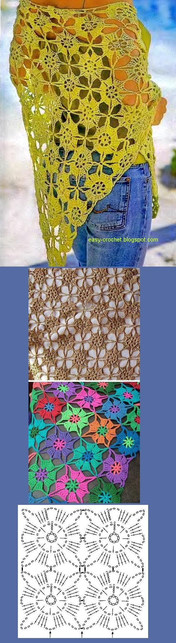 Stylish Crochet Fácil. Crochet Shawl with its diagram