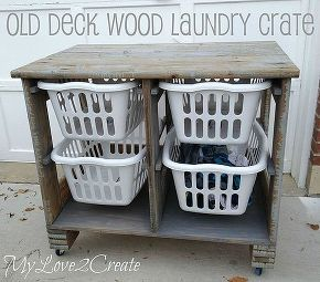 old deck wood laundry crate, diy, how to, repurposing upcycling, storage ideas, woodworking projects