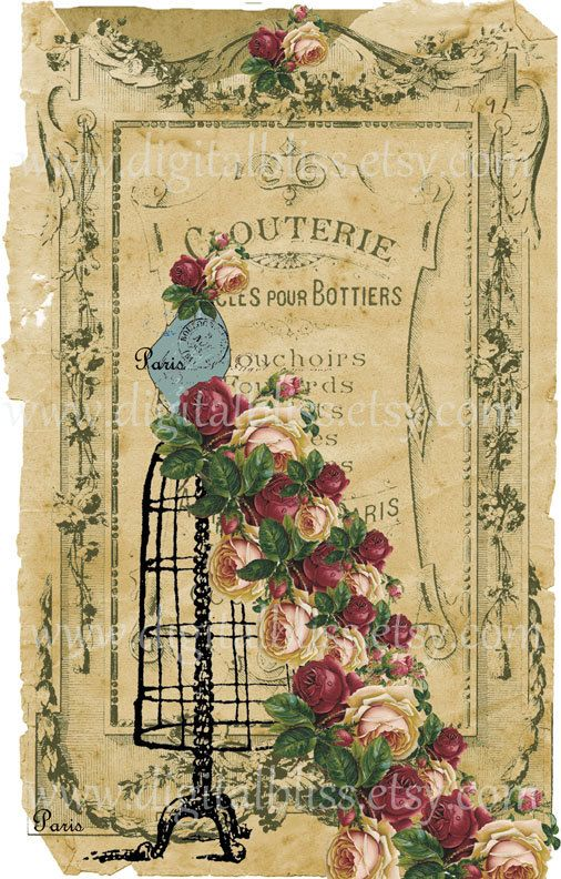 Vintage look Paris picture. Can buy this art print (7x11) from an Etsy site.
