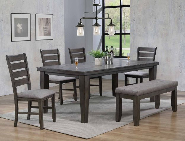 2152gy T 4282 6 Pc Bardstown Gray Finish Wood Dining Table Set Gray Fabric Chairs Grey Dining Tables Side Chairs Dining Dining Table