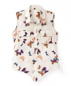 Floral Print Style Butterfly Pattern Sleeveless Blouse