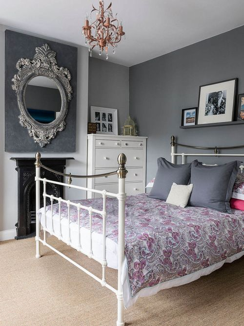 Elegant Bedroom Photo In London With Gray Walls Carpet And A Standard Fireplace Mdash Nbsp Elegant Bedroom Photo In London With Gray Walls Carpet And A Standard Fireplace Mdash Nbsp