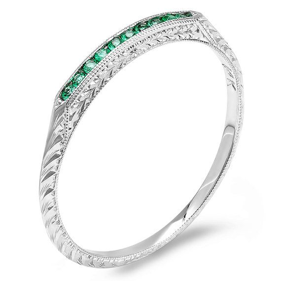 Hey, I found this really awesome Etsy listing at https://www.etsy.com/listing/104834674/14kt-white-gold-emerald-engraved-wedding