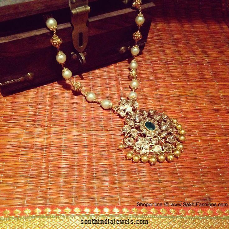 Gold diamond pearl mala from Sakhi Fashions