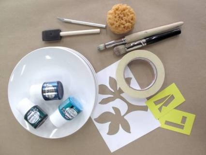 Custom dinnerware with porcelain plates & Pebeo porcelain paint/marker pens