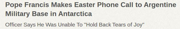 ZENIT   #PopeFrancis Makes Easter Phone Call to Argentine Military Base in Antarctica