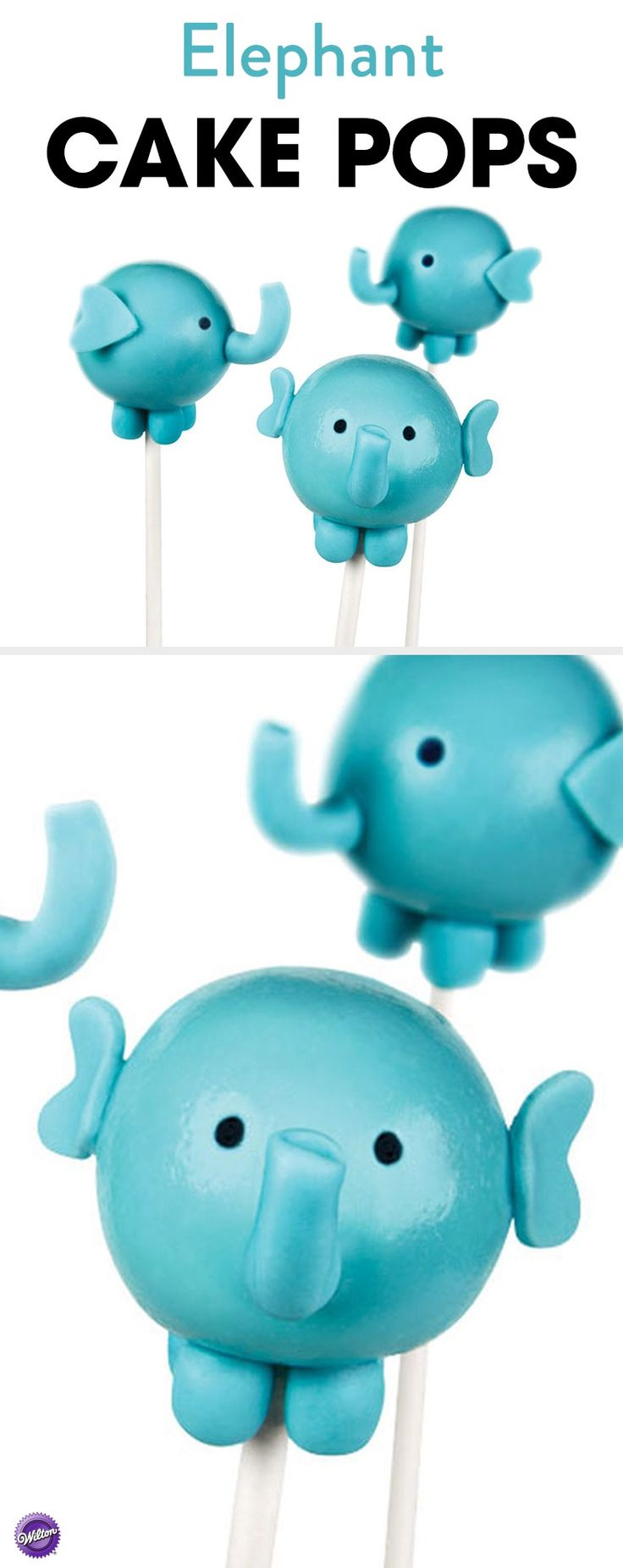 These cute Elephant Cake Pops will be a hit at your baby shower party! Dip cake pops in melted Candy Melts and use fondant to make the trunk, ears and legs. These cake pops are also perfect for an animal-themed birthday party.