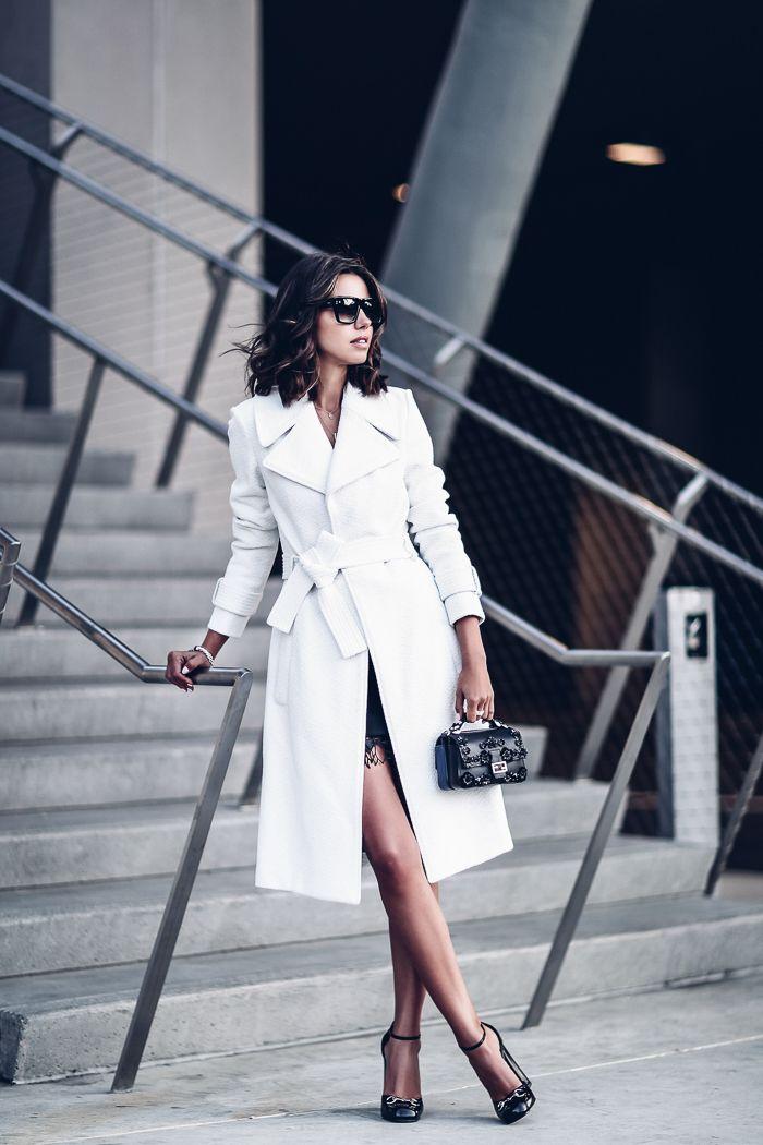 A.L.C. Richard belted textured coat, A.L.C. Jamie lace-trim ponte mini dress, FENDI Baguette micro double-sided floral cross body bag, Gucci heels, DITA sunglasses