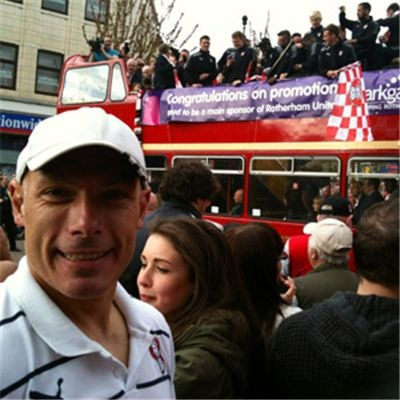 Spot the famous Miller! Top ref Howard Webb at the Rotherham United promotion parade.