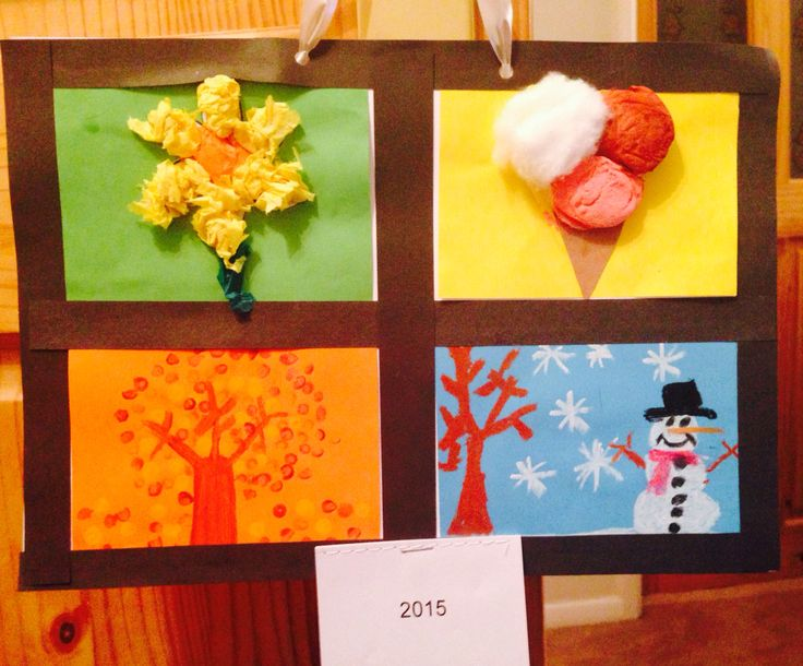 Four seasons calendar. Christmas gift for parents. Tissue paper, cotton wool, cotton buds and oil pastels. Children loved making these.
