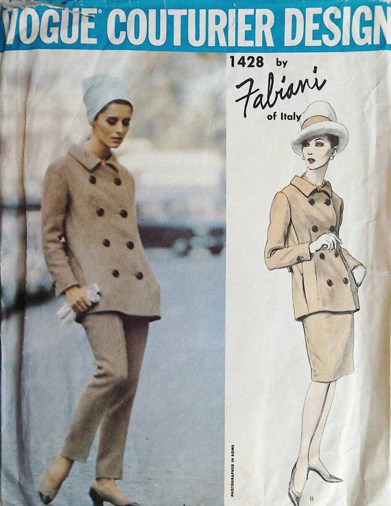 60s Vogue Couturier design Fabiani 1428. Bust 36 inches. Vintage sewing pattern. Trouser skirt and jacket suit